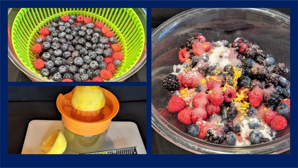 Berries in spinner, lemon being juiced and bowl of berries