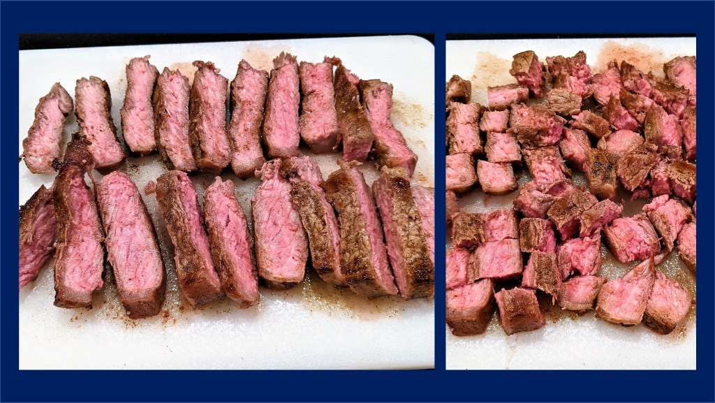 Steak cut into slices and peices