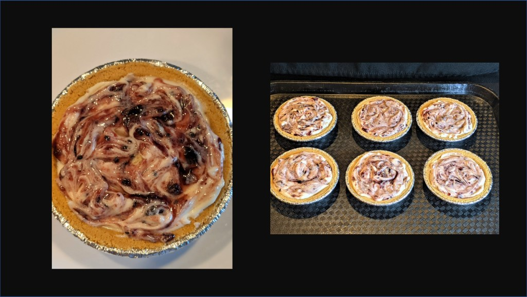 Tarts with swirled topping