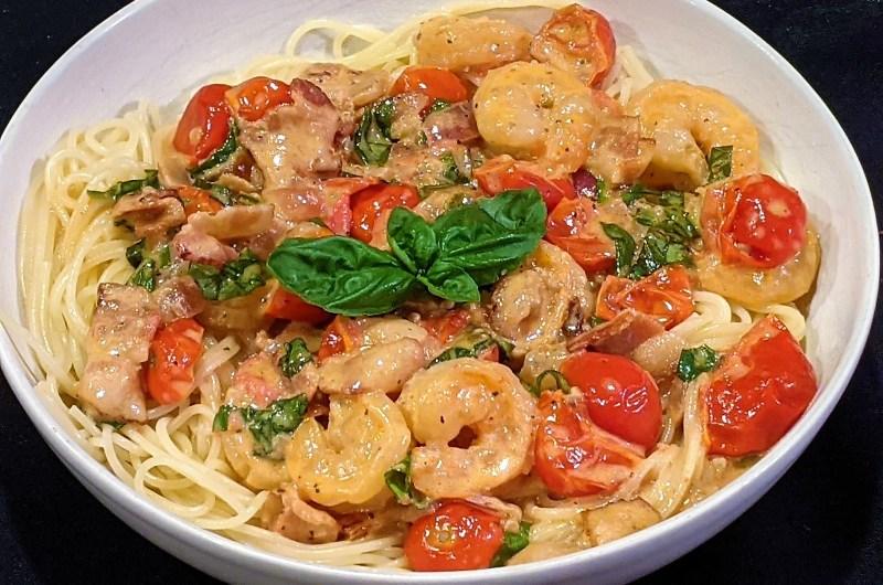 Easy Bacon & Shrimp Pasta in Tomato Cream Sauce
