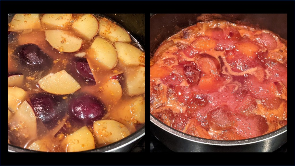 plums cooking in saucpan