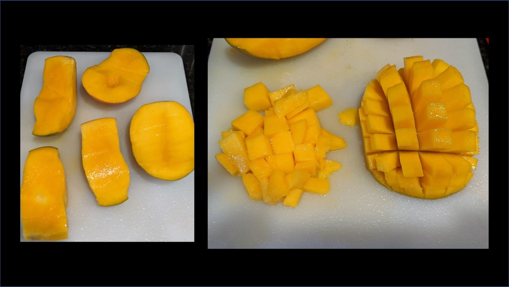 Mango being sliced in cubes