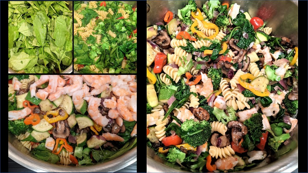 Images of veggies and shrimp cooking with the pasta