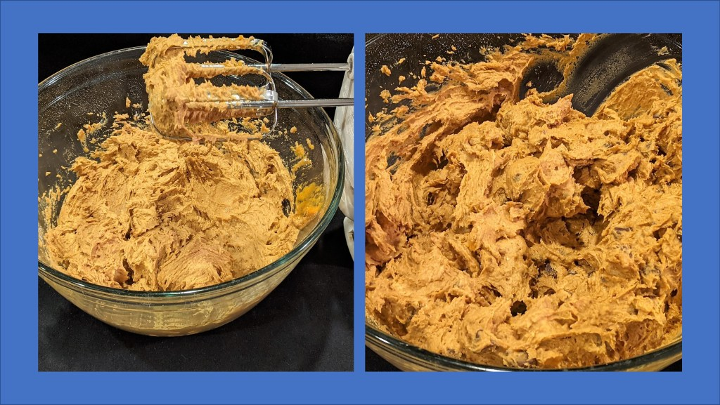 batter mixed in bowl - two images