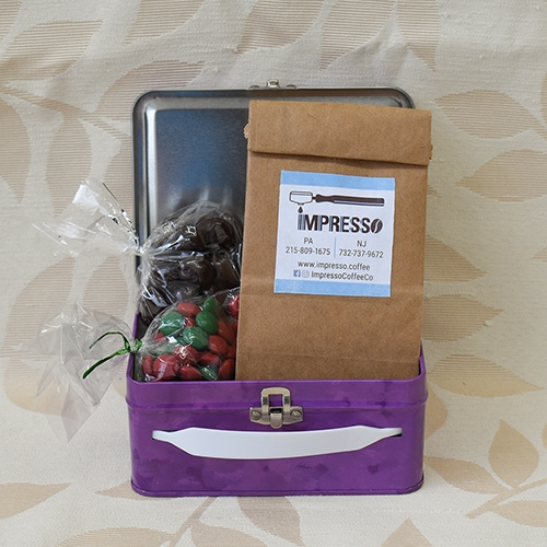 Gift basket with coffee beans and chocolates