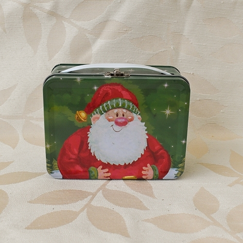 Rectangular holiday tin with santa