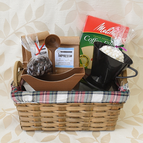 Gift basket with coffee beans, coffee filter, cone dripper, filter holder and chocolates