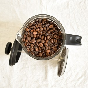 Brazilian coffee bean in a french press