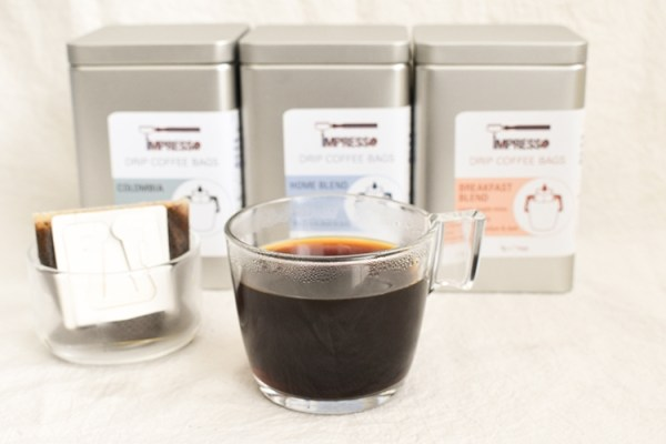 Coffee in a glass, brewed from a drip coffee bag