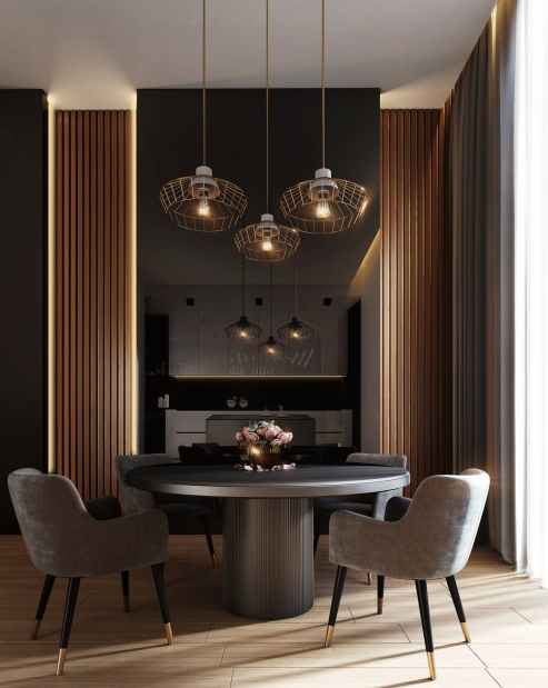 gray dining table under pendant lamps