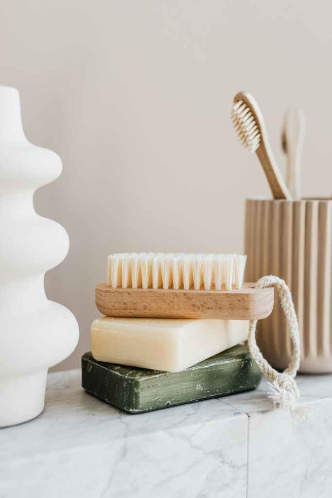 set of natural reusable cosmetic products