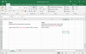 Sample source file prepared to import to memoQ