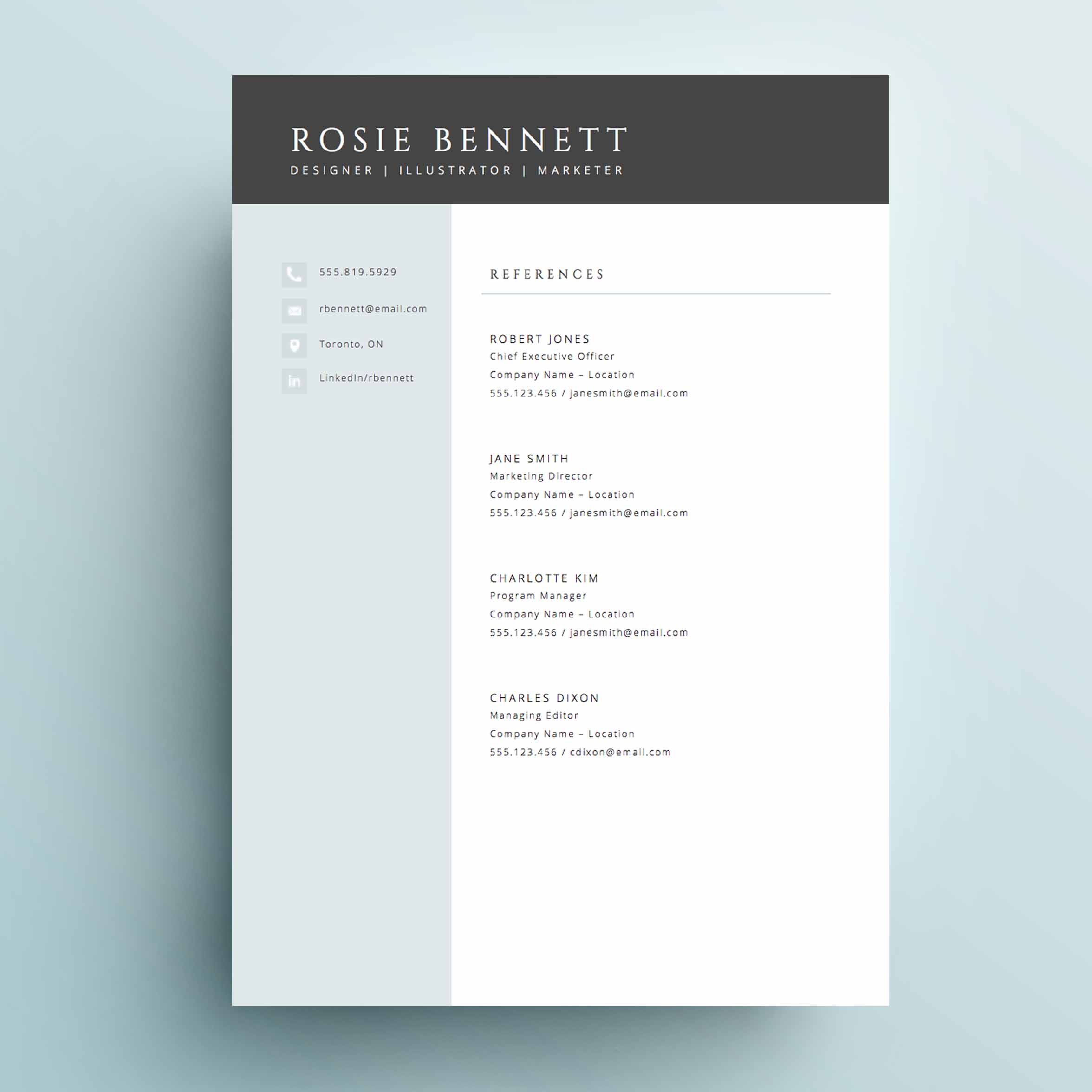 4 Page Resume Template   The  Rosie    Impresumes   Resumes and     The  Rosie  Resume Template Package