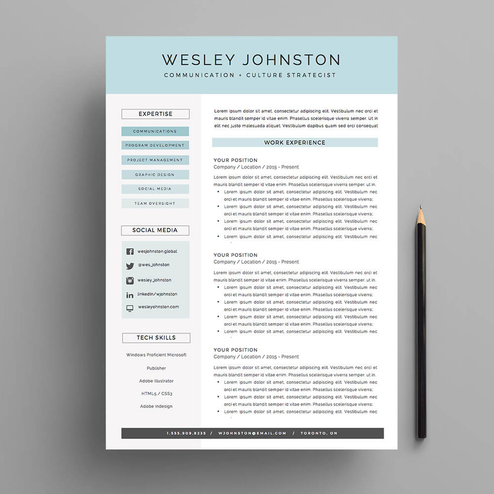 Resume   CV Template Package for MS Word    The Wesley    Impresumes     4 page resume and cover letter template for Microsoft Word  The  Wesley   Resume