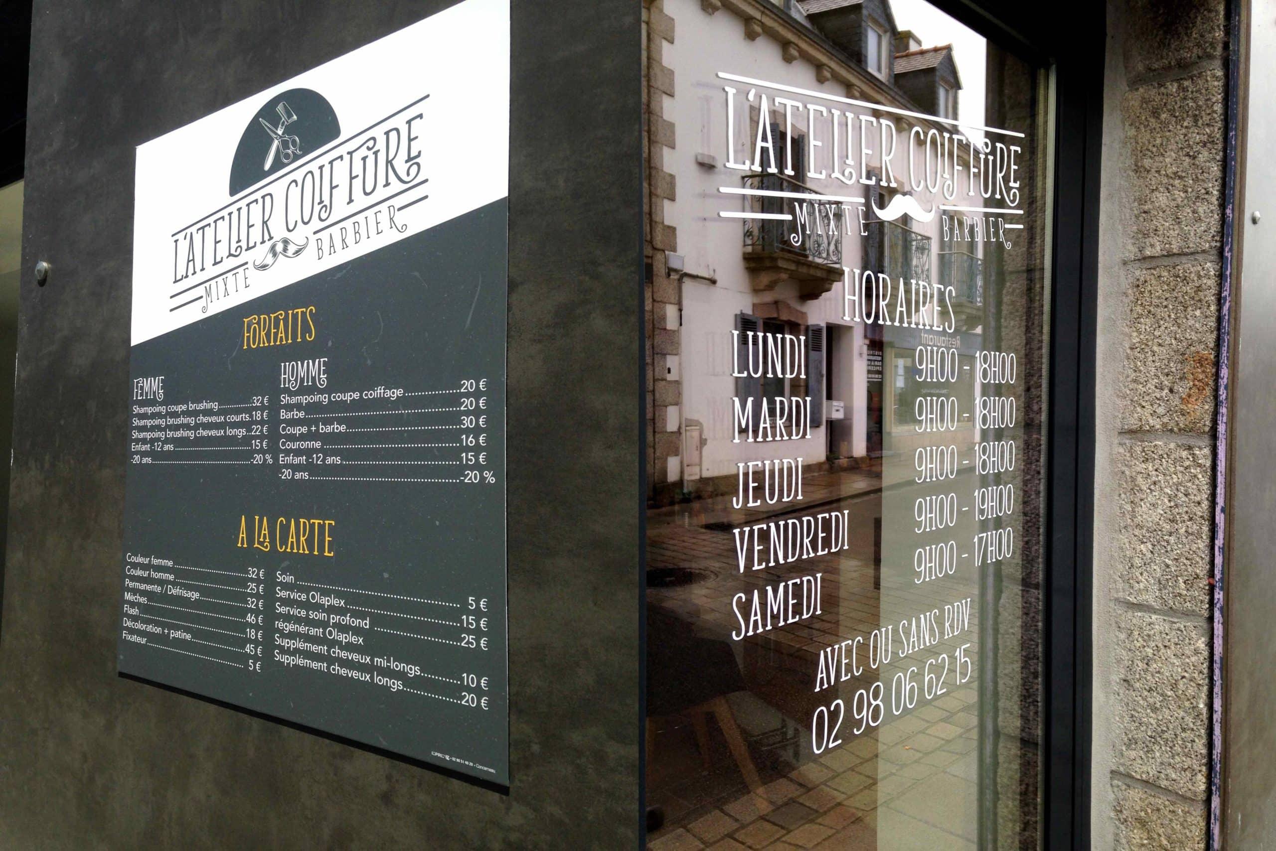 L'Atelier Coiffure à Névez - Vitrine et Panneau