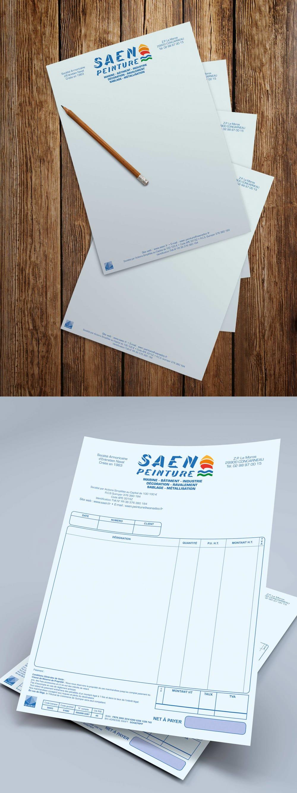 SAEN - En-tête de lettre et facturier