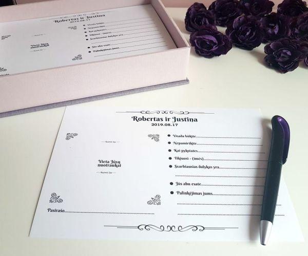 Palinkėjimų dėžutė su kortelėmis - dežučiu gamyba - imprimera410