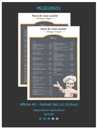 affiche prix et tarif restaurant