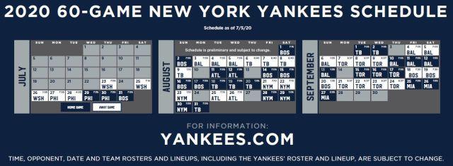 2020 60-Game New York Yankees Schedule - Calendar