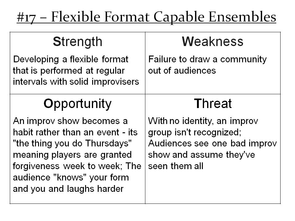More Info: http://improvdoesbest.com/2013/03/09/swot-17-playing-with-flexible-formats/