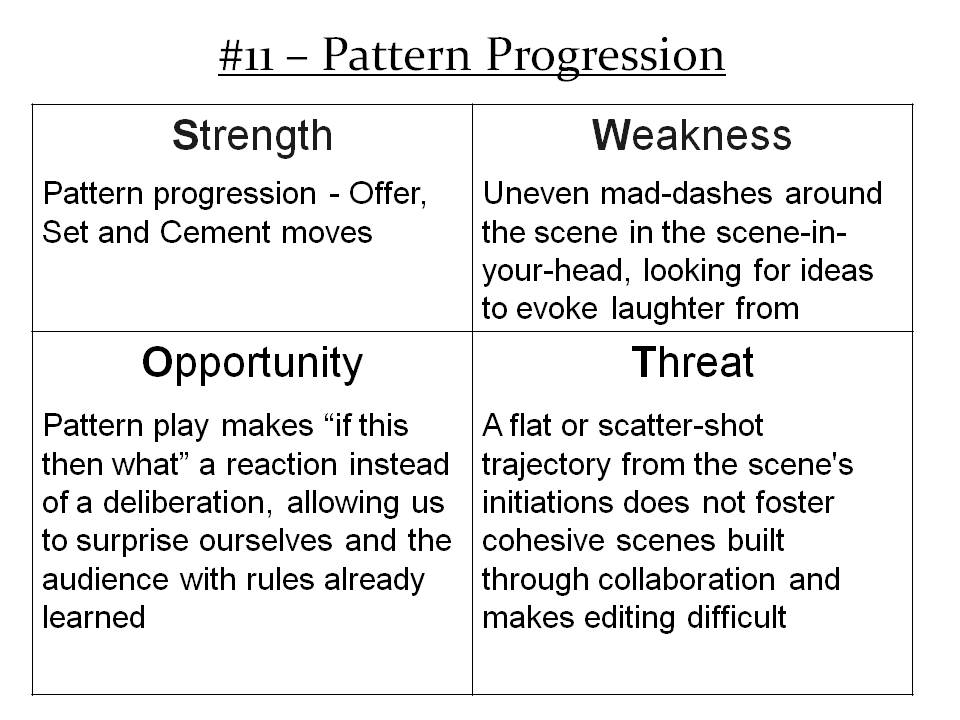 More Info: http://improvdoesbest.com/2013/03/19/swot-11-pattern-progression/