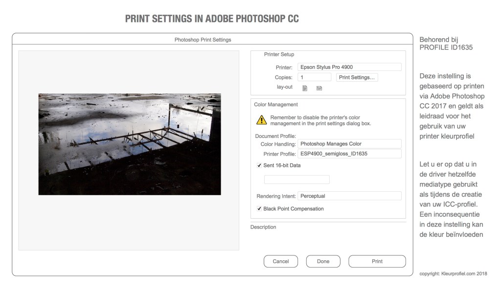 print dialoge Adobe Photoshop