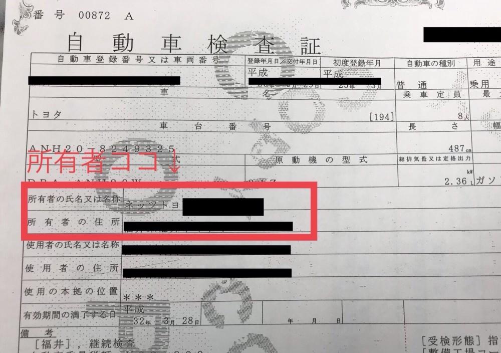 車検で確認する所有者の場所