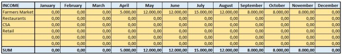 Table 2: Example of a Profit/Loss Statement (Part 1)