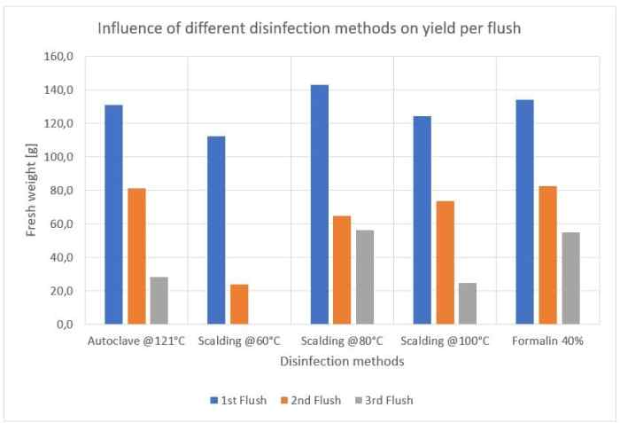 Figure 50: Influence of different disinfection methods on the yield per flush.