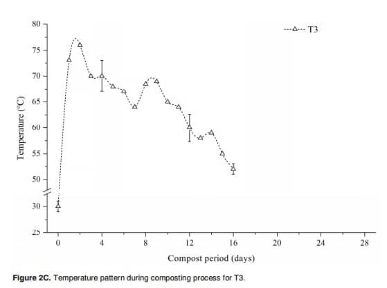 Figure 14: Temperature pattern during composting process for T3.