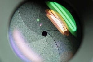 close up photo of an aperture in a camera lens