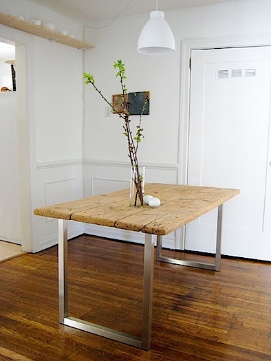 rustic table with modern base