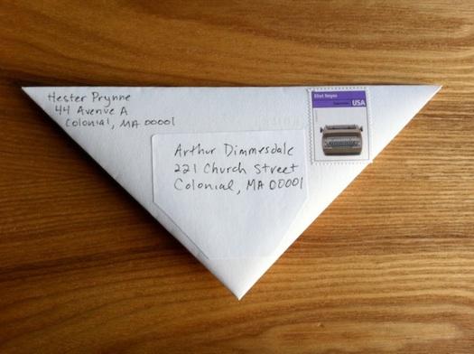 folded triangular envelopeless letter
