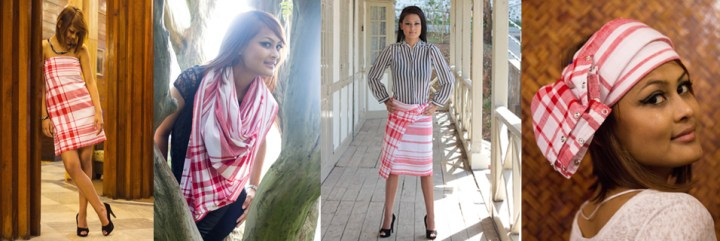 Assamese MultiStyle Scarf – Red & White