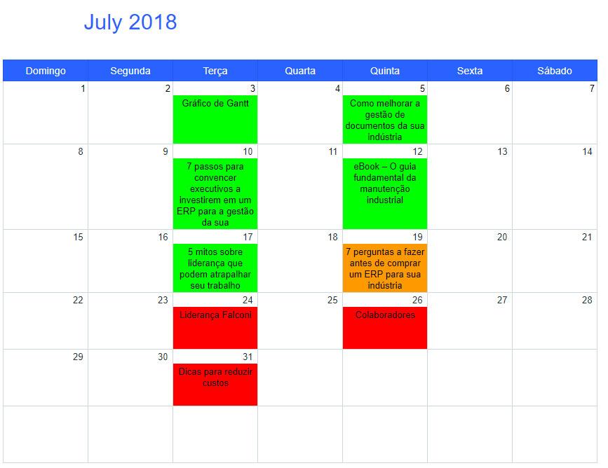 Calendário de conteúdo para Inbound Marketing