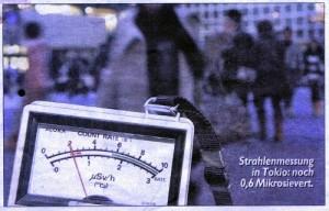 Ein Messgerät zeigt 0,6 Mikrosievert pro Stunde an