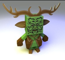Clun Green Man Papertoy - 3d Illustration- modelled and rendered in StrataStudio3D