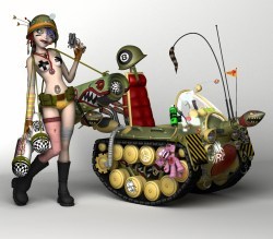 Tank Girl 3d Illustration- modelled and rendered in StrataStudio3D