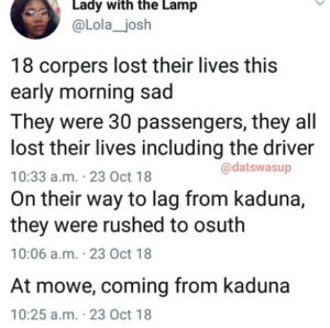 18 Corpers allegedly Died In Accident At Mowe