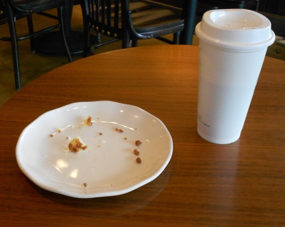 My table after heinous coffeehouse crime.