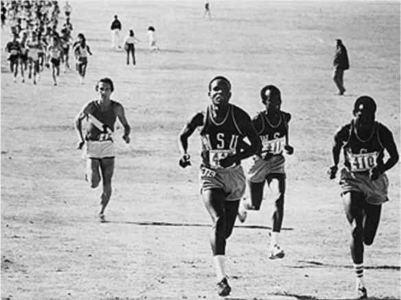 A typical race. From left, Henry Rono, Samson Kimombwa, and Josh Kimeto leading the 1976 NCAA cross-country championships