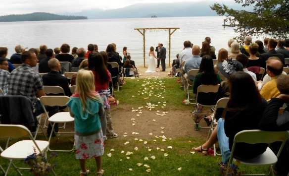 It was a beautiful setting. Too bad rocks tossed into the water disrupted the ceremony.
