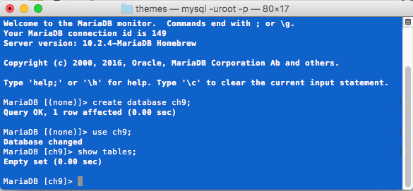 MariaDB Database Creation