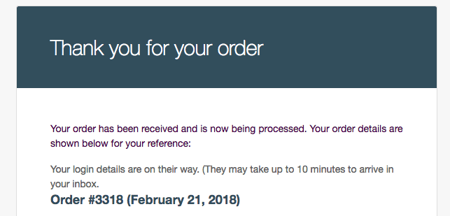 Order being processed custom message