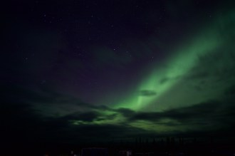 The northern lights over the runway at Kluane