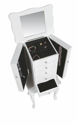 Schmuckschrank mit 5 Schubladen & 2 Türen, weiß