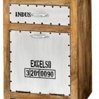Holzschrank, Metalloptik, 1 Schublade