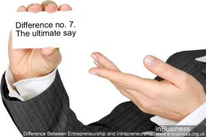 Difference Between Entrepreneurship and Intrapreneurship - Difference no. 7. The ultimate say
