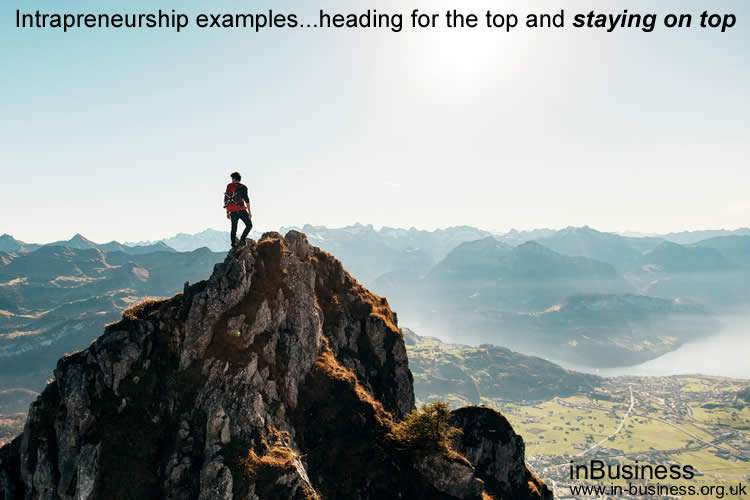 Examples of Intrapreneurship - Intrapreneurship examples heading for the top and staying on top
