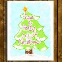 holly jolly tree christmas greeting card